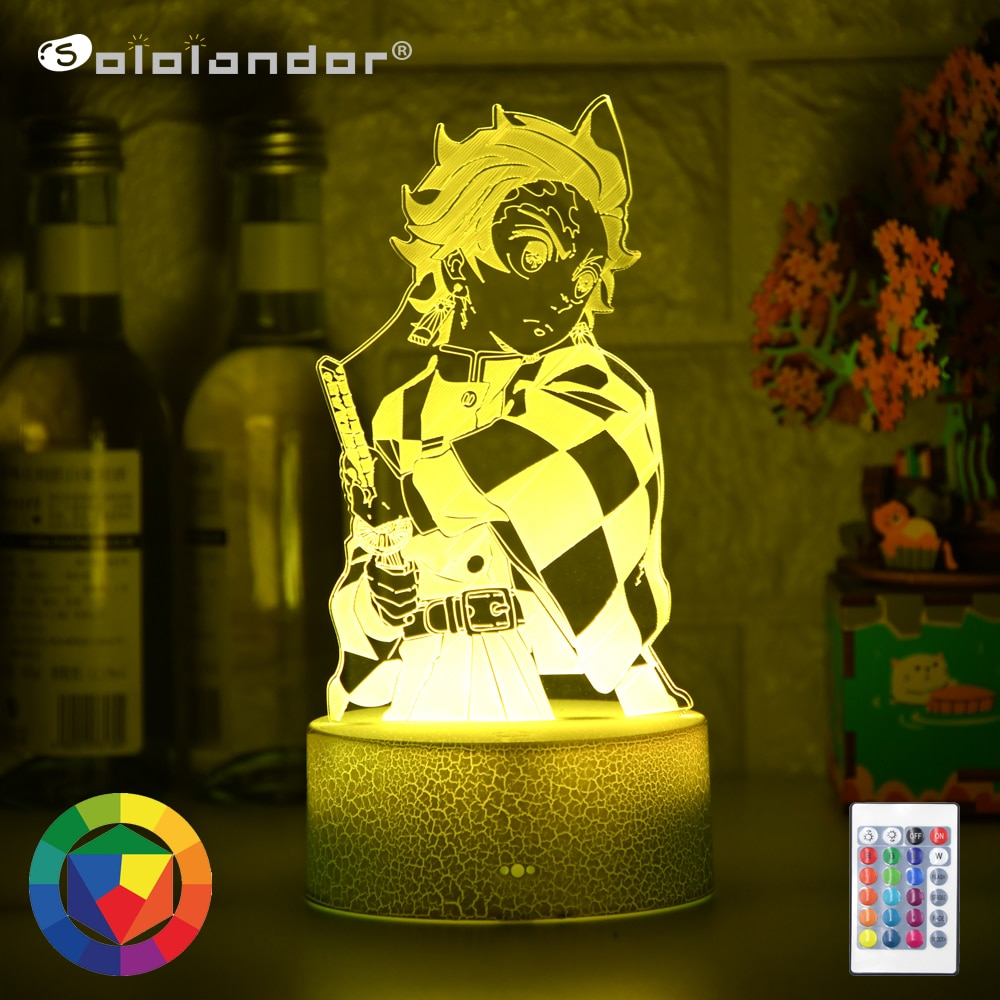 AliExpress - Kimetsu No Yaiba Tanjiro Kamado Figure 3d Night Lamp for Child Bedroom Decor Nightlight Kids Led Night Light Demon Slayer Gift
