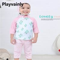 Wholesale Baby Girls Swimming Wear Cactus long sleeve swimsuit + Striped pants +Hat 3pcs suit Children Fashion Swimwear E71189