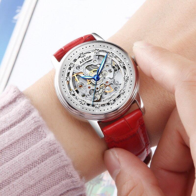 Aesop Mechanical Women Bracelet Watch Skeleton Automatic Wristwatch Mesh Stainless Steel Band Female Clock Chic Reloj Mujer enlarge