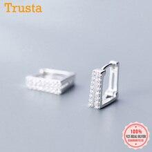 Trust davis réel 925 en argent Sterling mode doux Double carré CZ boucle doreille pour les femmes de mariage anniversaire bijoux fins DS823
