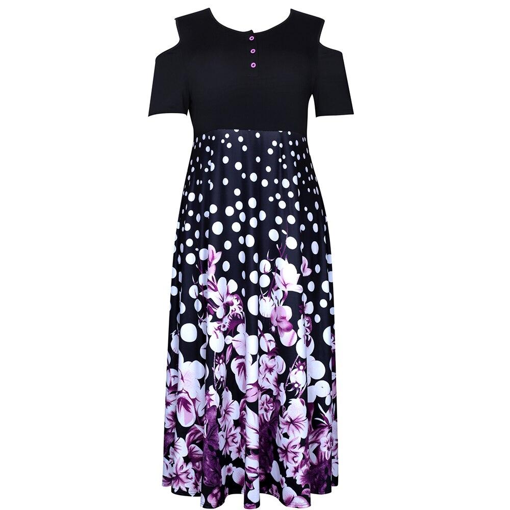 فستان صيفي للسيدات بمقاسات كبيرة موضة 2021 فستان حفلات منقوش أنيق فساتين حفلات كاجول للشاطئ كاجول للكتف مقاسات 3XL 4XL 5XL
