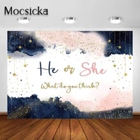 mocsicka navy blue blush pink gender reveal backdrop watercolor rose gold and navy pregnancy reveal party decoration background