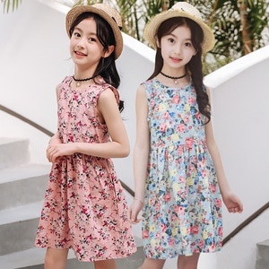 100% Cotton 3Y-13Y Floral Princess Dress Summer Girls Clothing Sets Fashion Kids Girl Sleeveless Dresses Beach Holiday Clothes