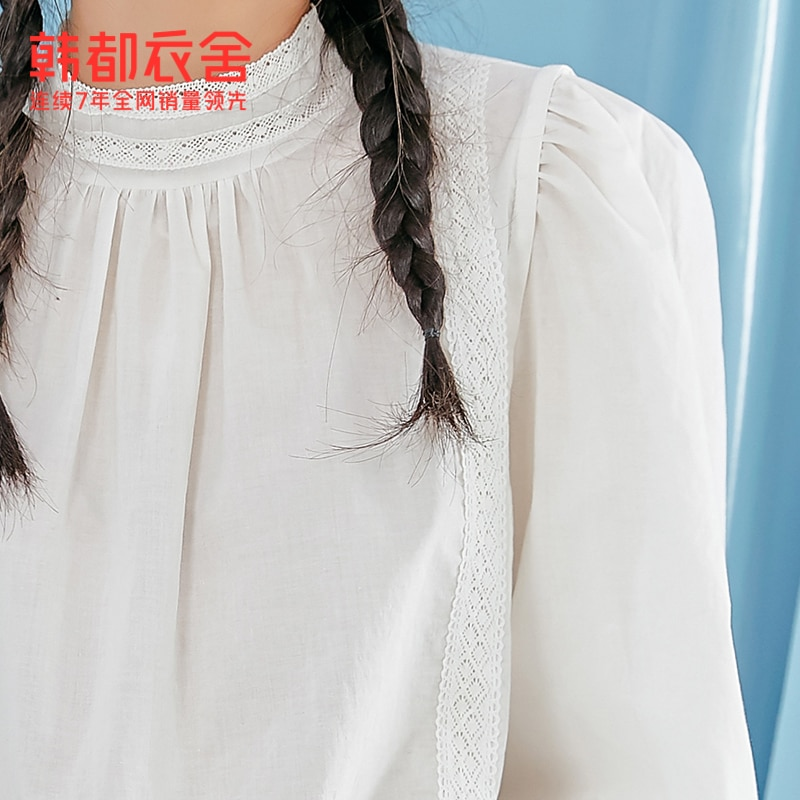 Korean Style Shirt for Women 2021 Spring New Lace Edge Stand Collar Puff Sleeve Top Women Mx10265