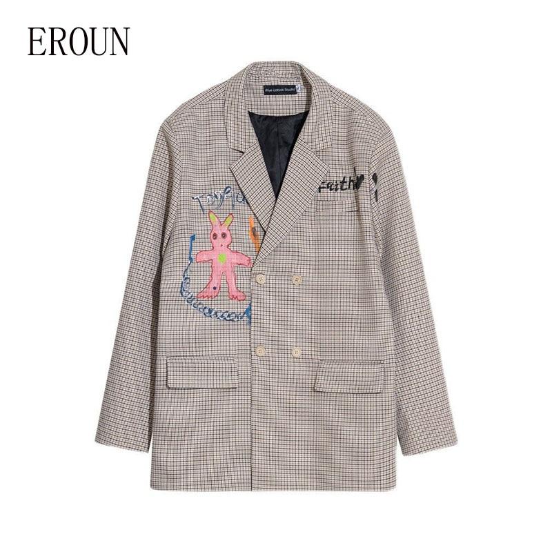 سترة نسائية أصلية لربيع 2021 ، جاكيت ياباني للجنسين ، بدلة أرنب ، رسومات مرسومة يدويًا ، بدلة صغيرة مربعة مطبوعة