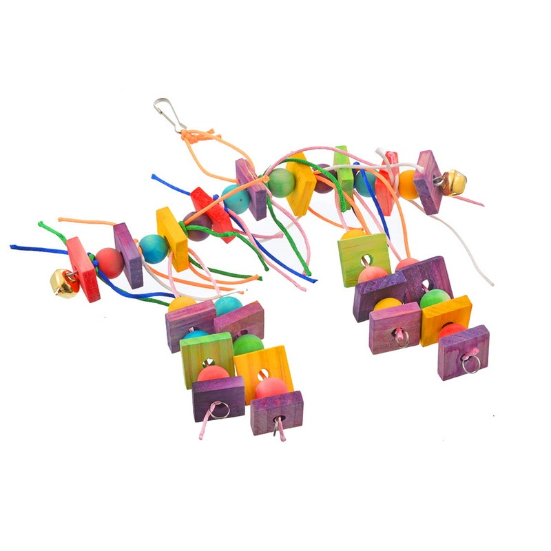 Colorful Wooden Straw Toys with Bells Interactive Hanging Indoor and Outdoor Toys Bird Toys