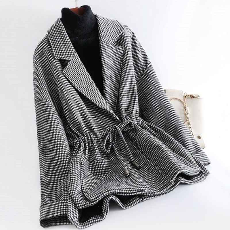 Europe And The United States Latest Spring Blouse Woolen Jacket Women's Lapel Tie-Up Fashion Clothin