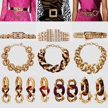Emingo Vintage or métal ZA Bijoux femmes Punk grand cristal boucle ceinture limitée Maxi collier ras du cou Boho boucles doreilles ensemble Bijoux