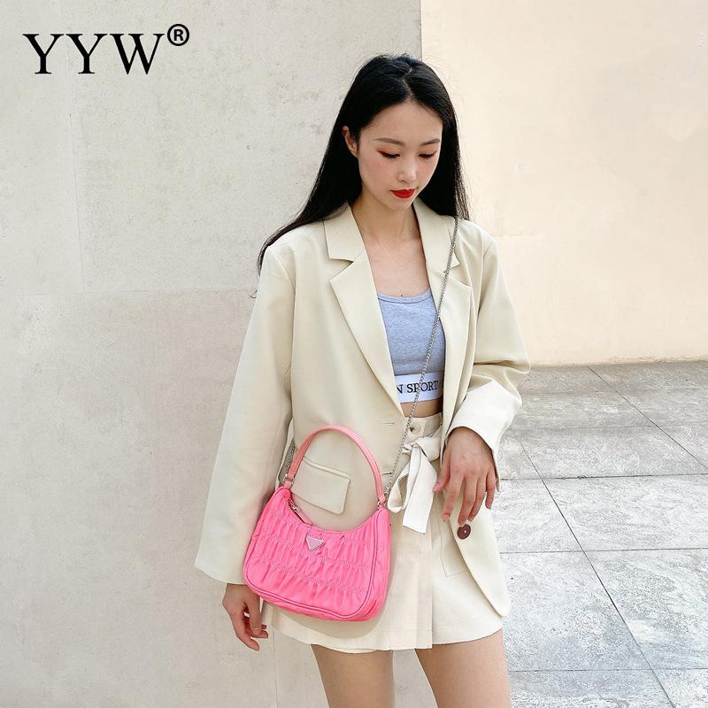 2020 Candy Color Summer Underarm Bag Nylon Handbag Luxury Design Women Hobo Pleated Tote Bag Small Shoulder Bag Female Purses