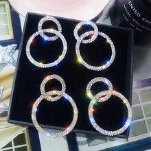 LATS Large and Small Circle Long Dangle Earrings Korean Zircon Flash Earrings for Women 2020 Female Fashion Jewelry Drop Earings