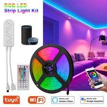تيار مستمر 12 فولت جديد واي فاي LED قطاع ضوء RGB مصلحة الارصاد الجوية 5050 الموسيقى مزامنة LED أضواء 5 متر 7.5 متر 10 متر/لفة مرنة الشريط غير مقاوم للماء الشريط ديود