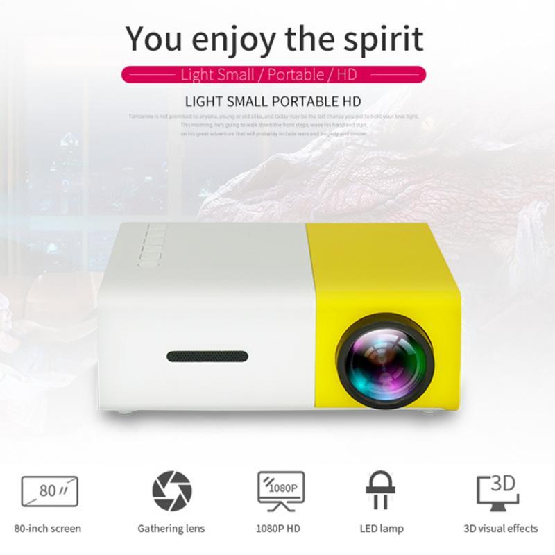 YG300 LED جهاز عرض صغير 1920*1080 بكسل يدعم 1080 P HDMI متوافق USB الصوت المحمولة الرئيسية ميديا مشغل فيديو للهاتف