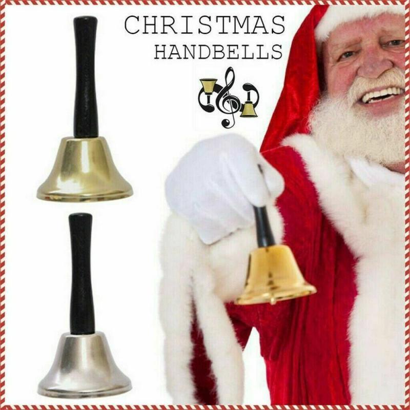 2021 decorações de natal noel papai noel mão sinos chocalhos pessoas velhas mão natal pólo sinos ouro prata navidad 2 cores