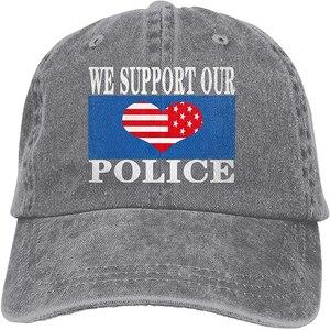 We Support Our Police PLM Police Lives Matter Sports Denim Cap Adjustable Unisex Plain Baseball Cowboy Snapback Hat