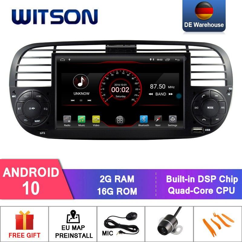 Android WITSON 10 RADIO del coche para FIAT 500 COLOR negro 2GB RAM 16GB FLASH GPS estéreo para coche de navegación + DAB + OBD + TPMS + DVR + WIFI
