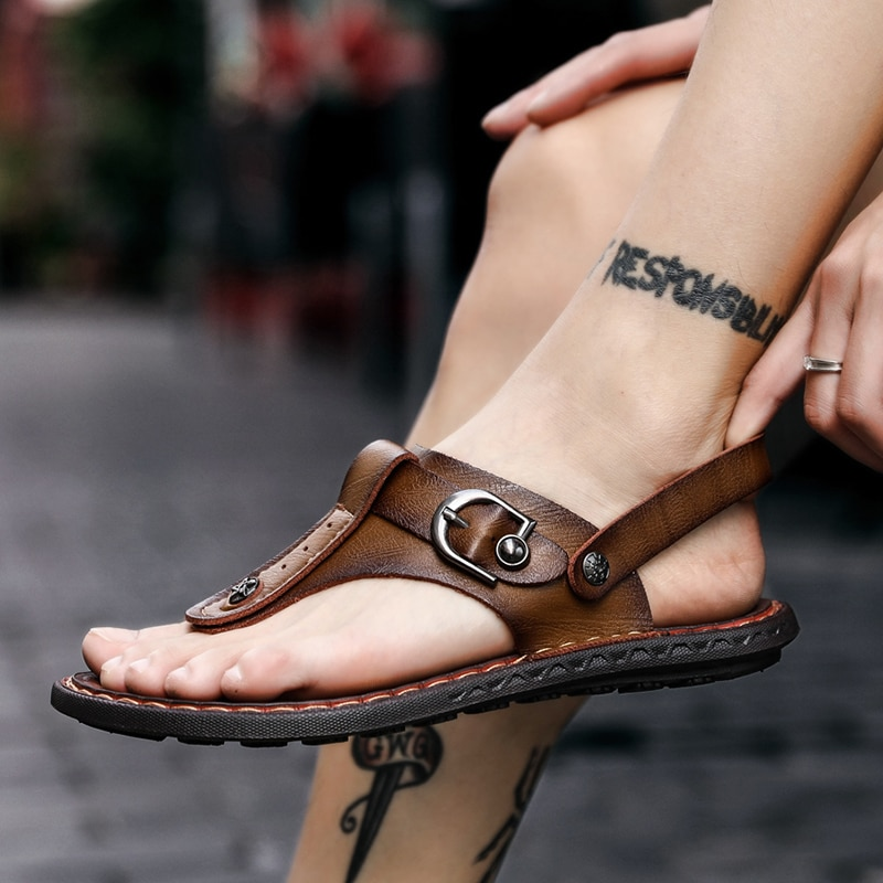 Sandalias de playa sandali de 2020 couro para hombre, sandalias de piel...