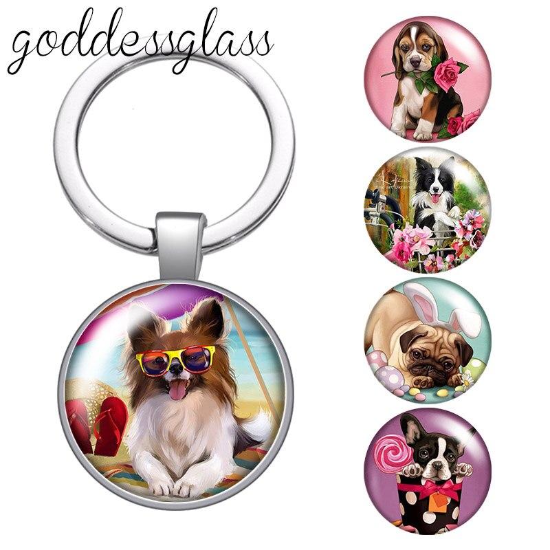 Cão dos desenhos animados adorável animal de estimação pomeranian pug collie vidro redondo cabochão chaveiro saco chaveiro chaveiro carro chaveiro titular encantos chaveiros presentes