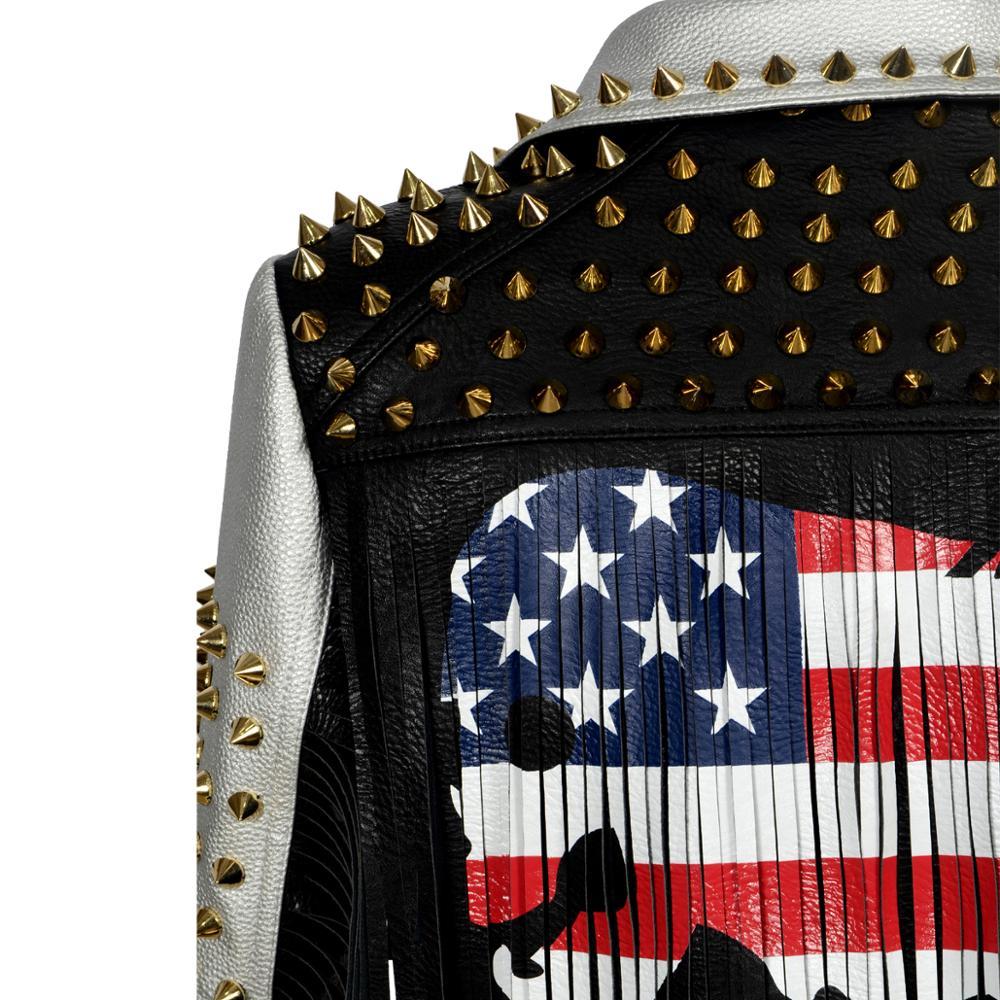 New Hot PU Leather tassels Jacket Women Letter Print Graffiti Rivets Coats Punk slim Biker Fringed studs Motorcycle outerwear enlarge