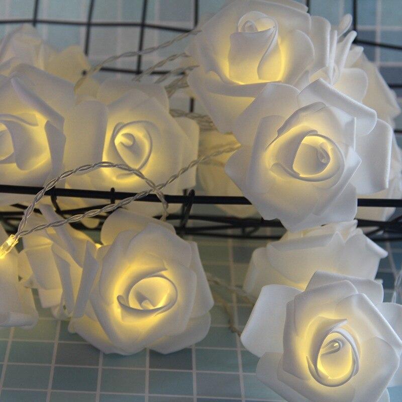 Rosa flor led luzes da corda 6cm espuma artificial rosa flor de fadas luzes dia dos namorados decoração do casamento luzes da bateria