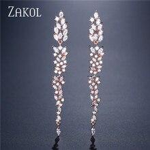 ZAKOL Exquisite Wedding Design Leaf Ear Line Long Dangle Drop Earrings Jewelry Cubic Zironia Brincos for Women Bijoux FSEP2155
