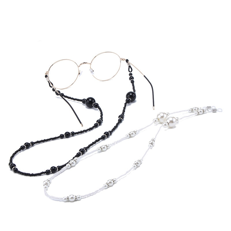 Vintage Women Imitation Pearl Chain  Metal Sunglasses Cords Casual Pearl Beaded Chains  Couples Cord