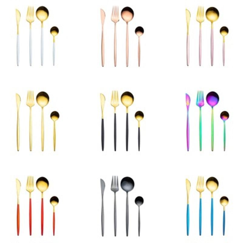 4 قطعة/المجموعة أدوات المائدة سكين شوكة ملعقة القهوة مجموعة أطباق متعددة اللون غسالة صحون آمنة مجموعة أدوات المائدة