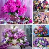 Peinture diamant theme lilas  broderie complete 5D  fleurs carrees  image en strass  mosaique  Art  decoration dinterieur  cadeau