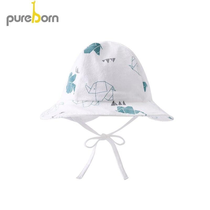 Pureborn Newborn Baby Hat Cap Adjustable Baby Sunhat Cotton Cartoon Baby Beach Swimming Bucket Hat Fishing Floppy Summer Hat braided tassel floppy felt hat