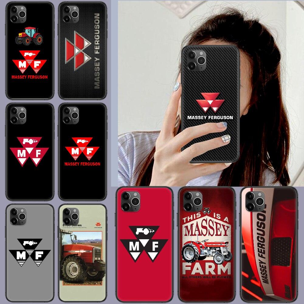Tratores massey ferguson telefone caso capa casco para iphone 5 5S se 2020 6s 7 8 12 mini plus x xs xr 11 pro max preto capa