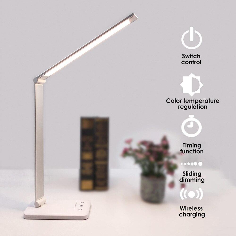 Lámpara LED de escritorio QI, carga inalámbrica con sincronización inteligente, 5 modos, atenuable, táctil, USB, protección ocular, lámpara de mesa de lectura