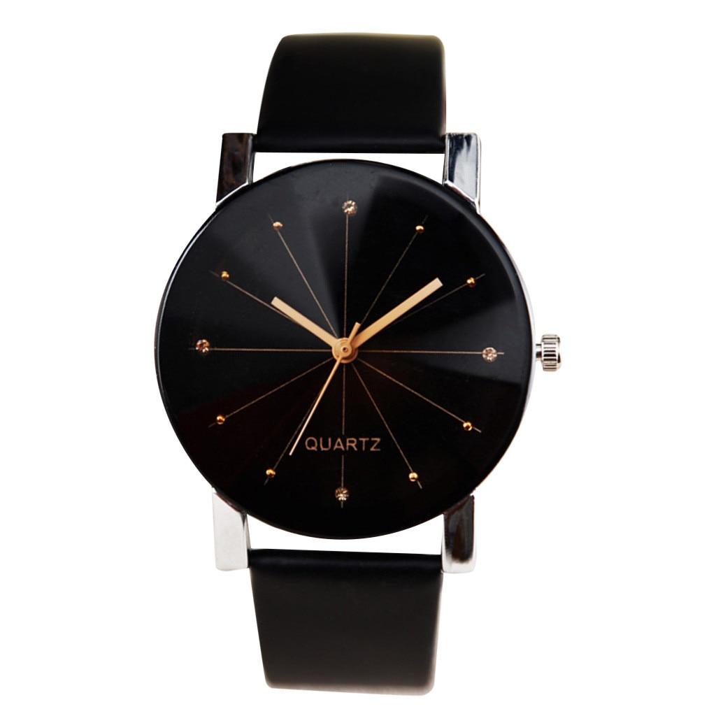 Men Women Leather Strap Line Analog Quartz Ladies Wrist Watches Fashion Watch часы женски�