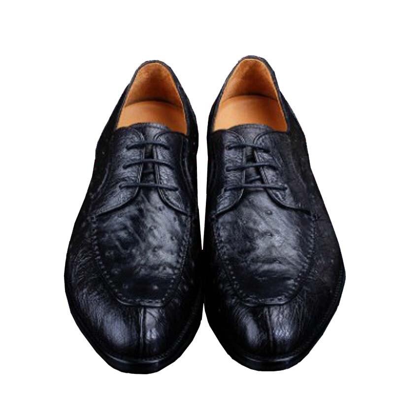 أوروي-حذاء جلد النعام الحقيقي للرجال ، أحذية رجال الأعمال ، برباط ، جلد النعام الأصلي
