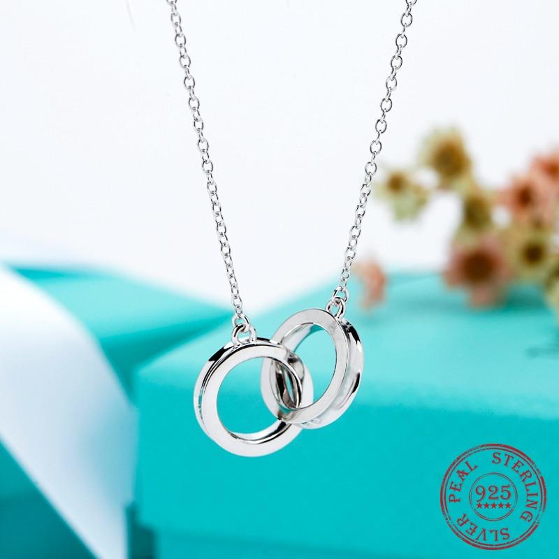 قلادة السيدات مزدوجة قلادة عصابة 925 فضة بسيطة عالية الجودة سلسلة قصيرة تصل إلى عظمة الترقوة الإناث مجوهرات الأزياء الكورية هدية