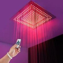 """16 """"quadrat FÜHRTE Dusche Kopf Regenwasserspar Regen Duschköpfe Fernbedienung LED Licht Bad Dusche Wasserhahn Decke Duschen"""