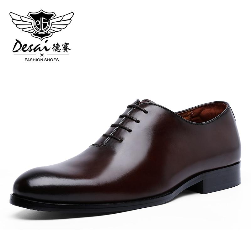 Zapatos de vestir DESAI Oxford para hombre, zapatos de vestir formales de negocios con cordones de cuero de grano completo, zapatos minimalistas para hombres