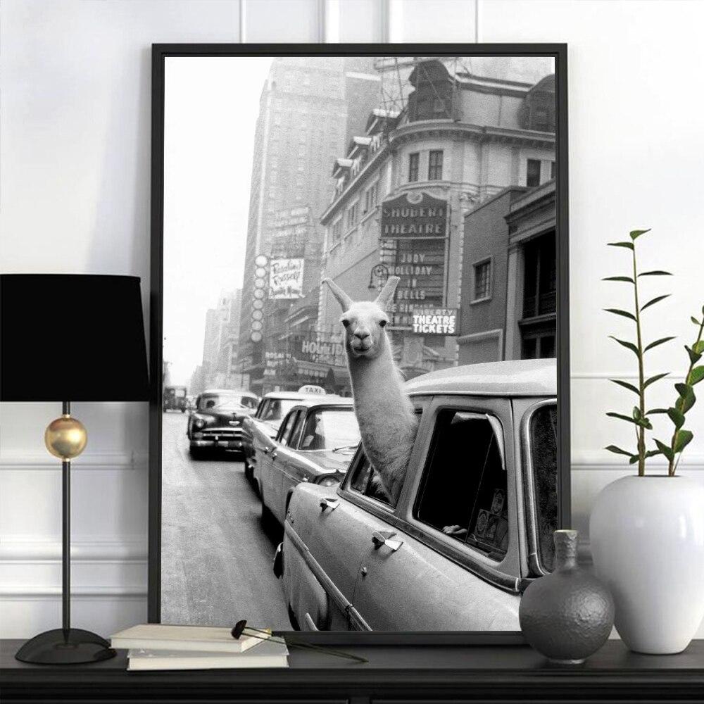 Obraz na płótnie lama w nowym jorku Taxi zwierząt drukuje Vintage plakaty obrazy na ścianę do salonu dekoracja sypialni dla dzieci