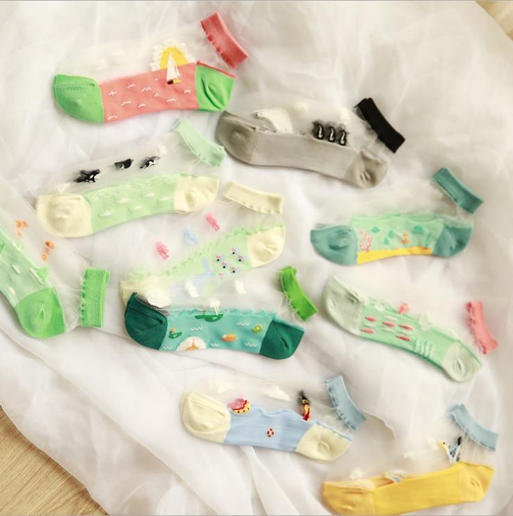 Spring And Summer New Fashion Women's Boat Socks Sea Set Transparent Patchwork Socks Ankle Socks
