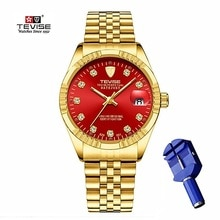 TEVISE Gold Automatic Watch Men Luxury Mechanical Watches Waterproof Casual Stainless Steel Mens Wri