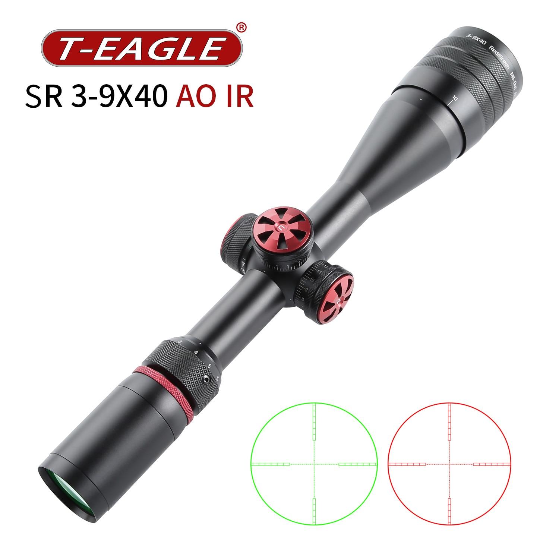 T-EAGLE التكتيكية Riflescope الإكتشاف نطاق للصيد بندقية تصطدم بصري بندقية البصر الأحمر الأخضر ضوء SR3-9X40AOIR