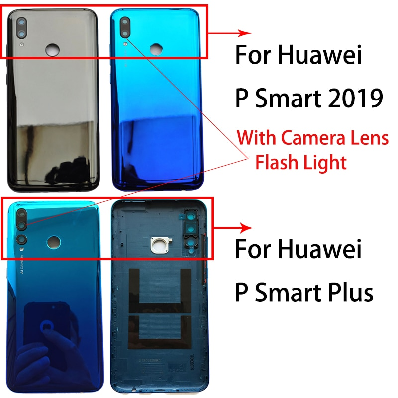 Nuevo para Huawei P Smart 2019/P Smart Plus carcasa trasera de plástico carcasa de batería carcasa trasera con llaves laterales