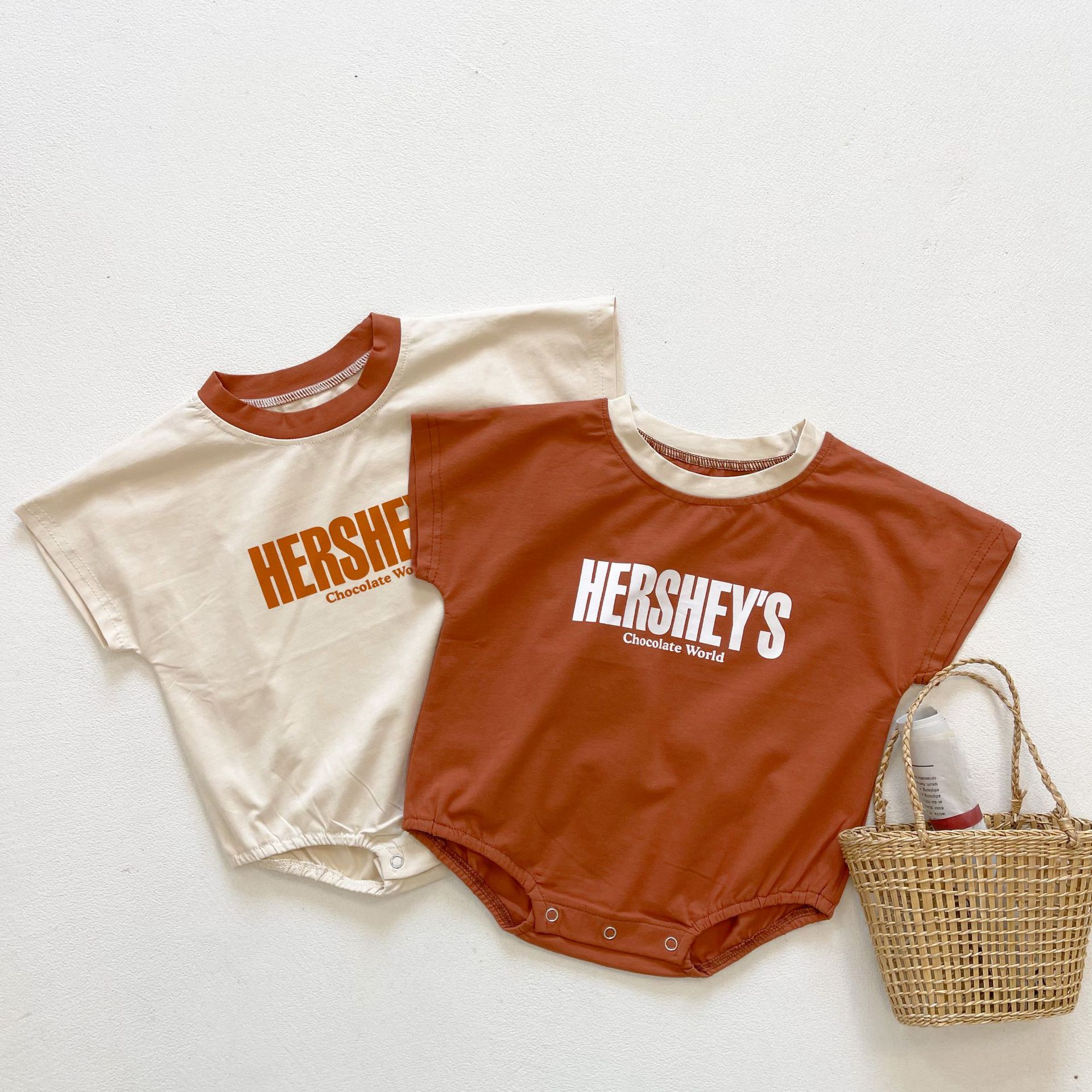 Yg brand children's clothing 2021 summer Baby Bat Sleeve Bag fart clothes printed cotton baby triang