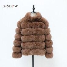 Femmes hiver naturel réel fourrure de renard manteau col montant mode réel fourrure de renard veste courte 2020 nouveau style les rayures