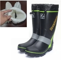 men 40pcs steel nail bottom super anti slip rain boots high barrel reflective strip fishing shoes snow shoes rubber waterproof