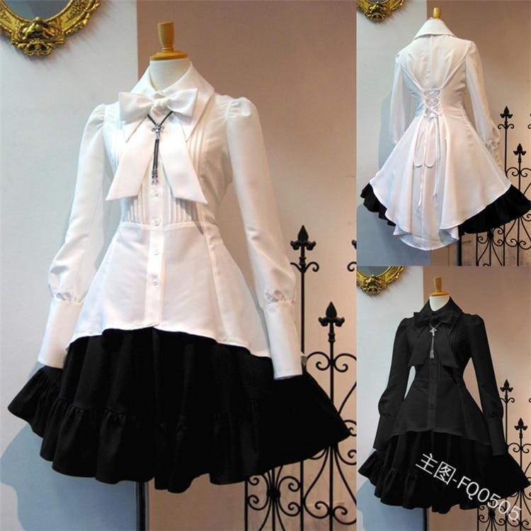Gothic lolita doce feminino babados vestido rayon princesa festa camisa & saia vestidos vintage loli vestido oversize cosplay traje 5xl