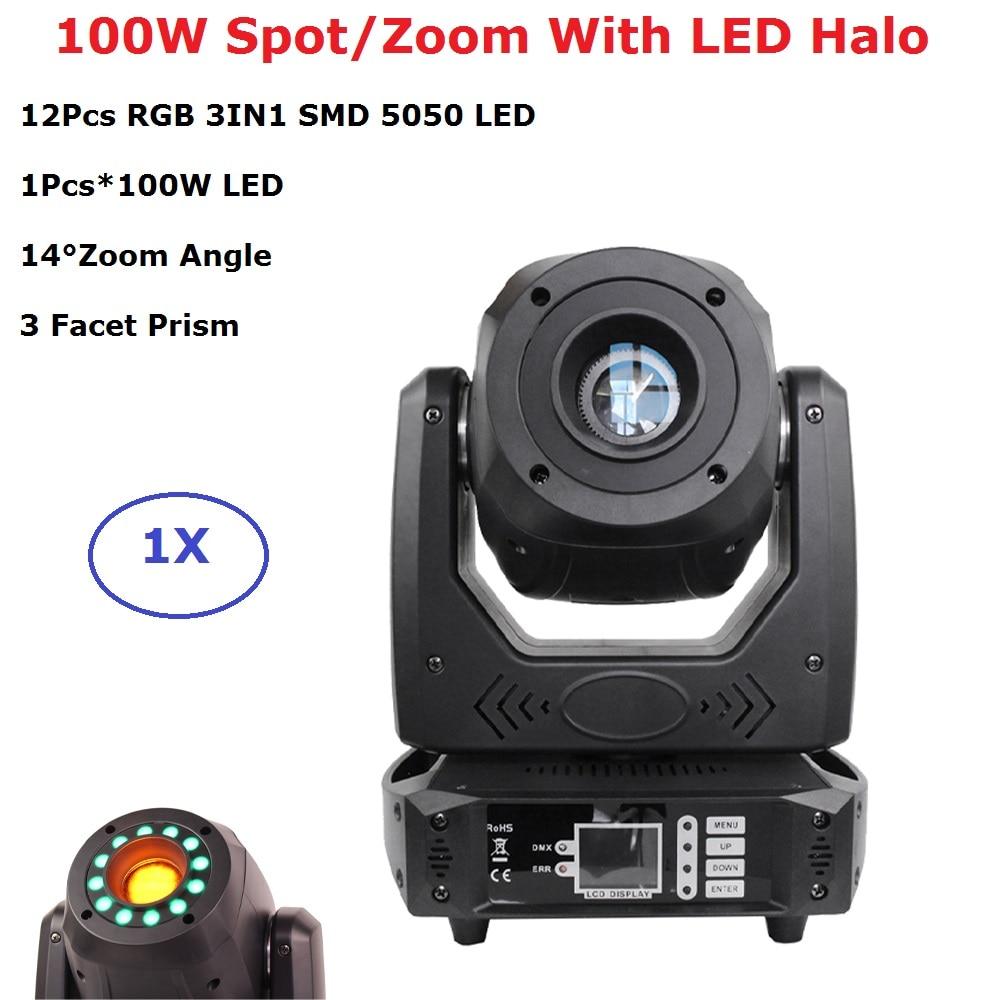 LED 100W Beam Spot Zoom Light DMX512 Moving Head Light DJ /Bar /Party /Show /Stage Light With 12Pcs RGB 3IN1 LEDS Strobe Light