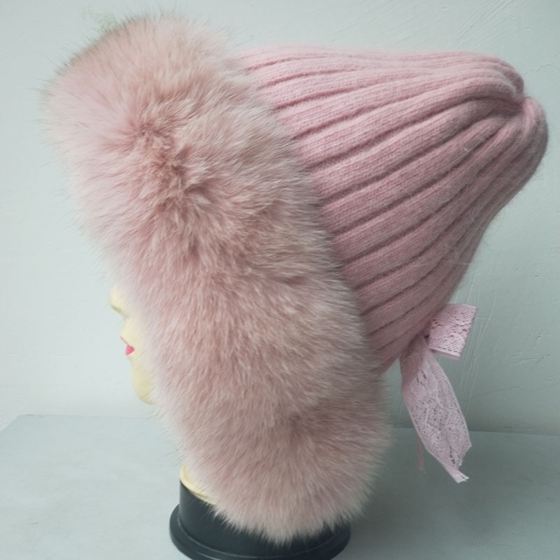 Winter Warm Women Knitted Hat With Real Fox Fur Hot sale Fashion Knit Cap Female Beige High-Quality