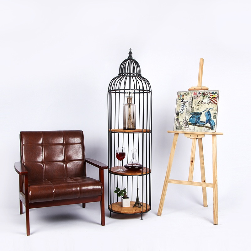 Antique iron bird cage metal Plant Shelves garden stand iron plant stand  metal floor shelf vintage home decor home storage