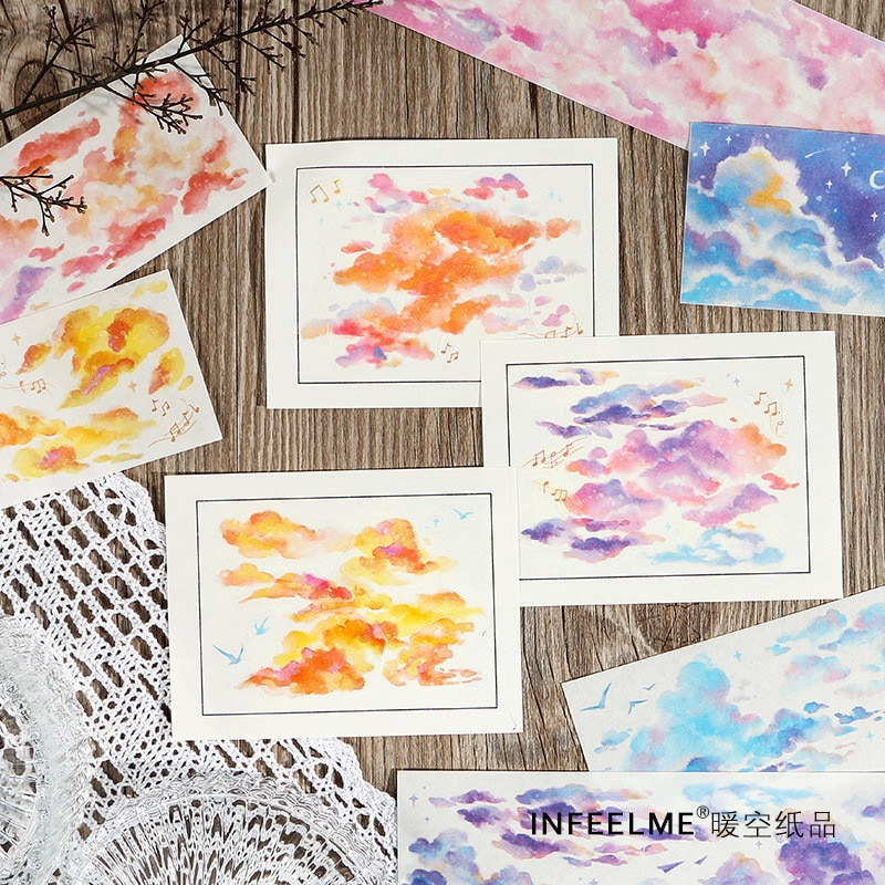 Coloffice, 1 pieza, Washi, cinta de papel, colección de nubes, paquete compartido, Collage, manual de papel, papelería escolar decorativa