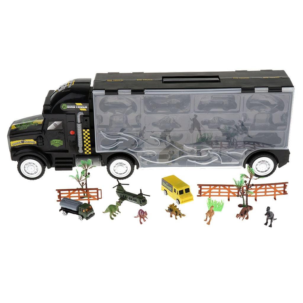 "22"" Transporter Heavy Truck with Dinosaur Model Vehicles Kids Toy 16pcs/set"