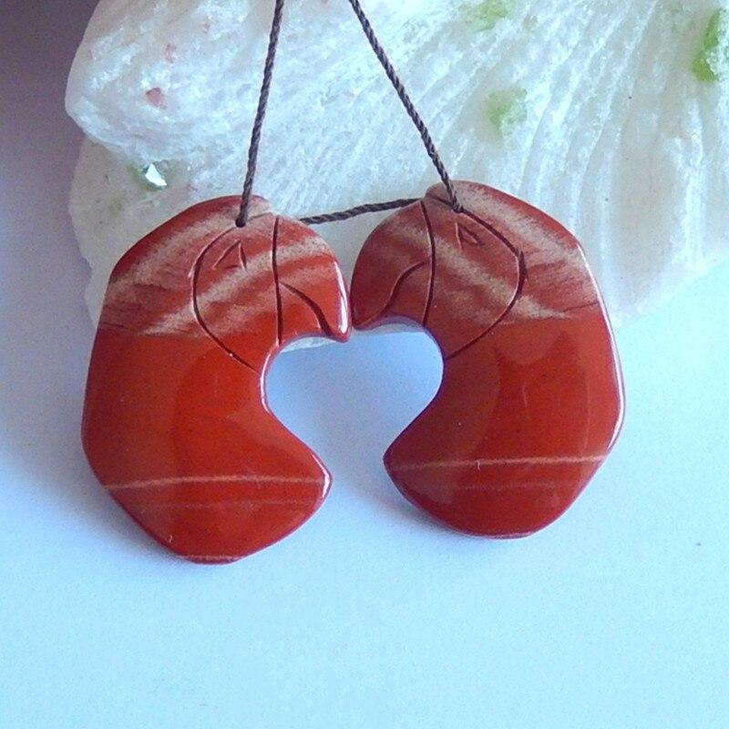 Pendientes tallados a mano jaspe del Río Rojo pájaros moda mujer, 35x25x5mm, 15,1g